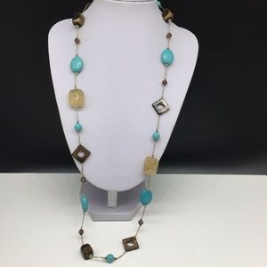 Premier Designs Turquoise Abalone Beaded Necklace